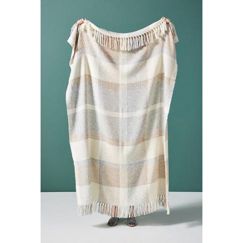 Huron Windowpane Throw Blanket - Beige