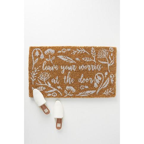 Leave Your Worries At The Door Doormat - White