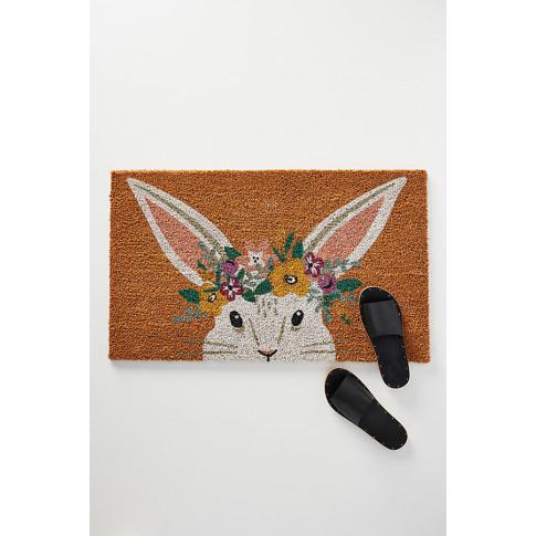 Floral Bunny Doormat - Pink