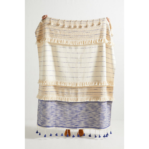 Embellished Nayo Throw Blanket - Blue