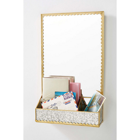 Lena Scalloped Storage Mirror