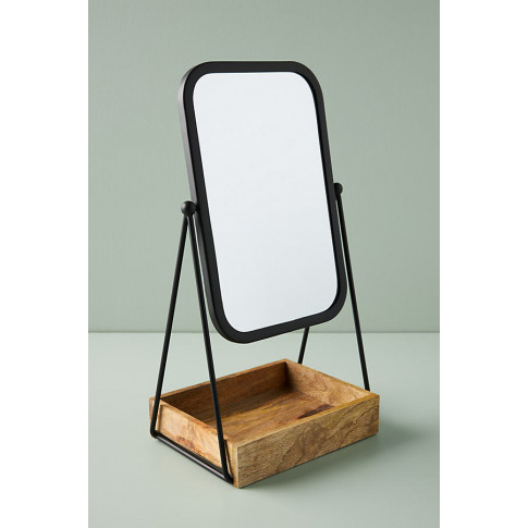 Mia Tabletop Vanity Mirror - Black, Size Xs
