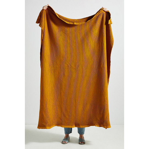 Woven Waffle Throw Blanket - Orange