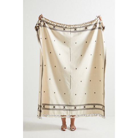 Embroidered Jemima Throw Blanket - Brown