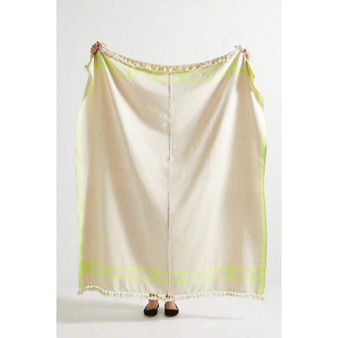 Embroidered Jemima Throw Blanket - Green