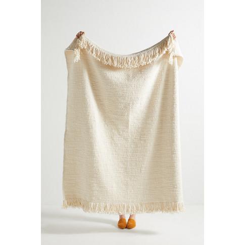 Textured Kadin Throw Blanket - White