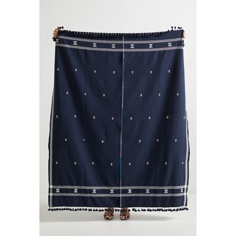 Embroidered Jemima Throw Blanket - Blue