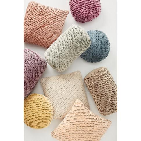 Kantha-Stitched Washed Velvet Cushion