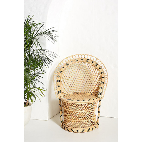 Barrel-Backed Woven Dining Chair - Beige