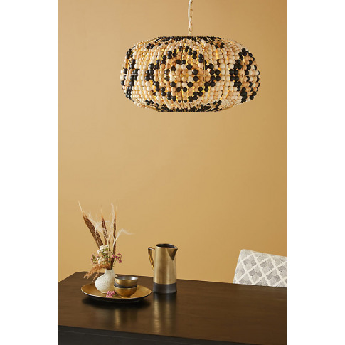 Kali Beaded Ceiling Light - Beige, Size M