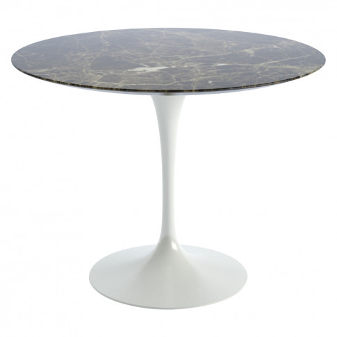 Tulip Dining Table Emperador Marble & White Base 91cm