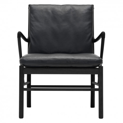 OW149 Colonial Armchair Black Stained Oak & Black Le...