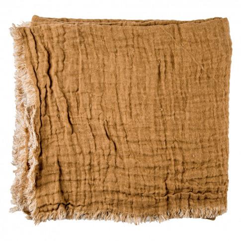 Crumpled Linen Bedspread Cuir