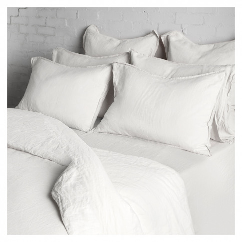 Linen Duvet Cover Single White