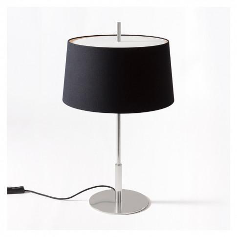 Diana Table Light Satin Nickel Base Black Shade