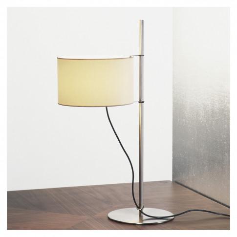 Tmd Table Light Satin Nickel Base White Linen Shade