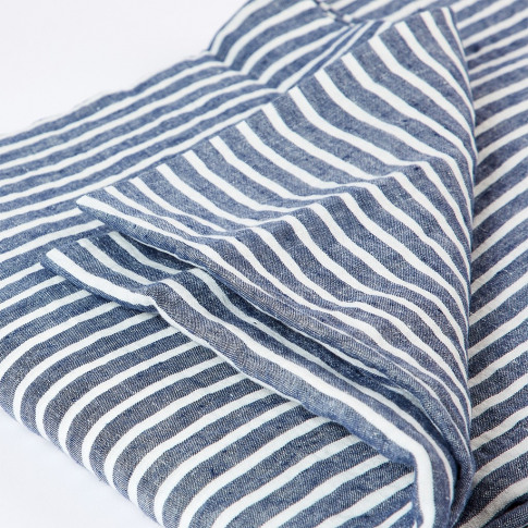 Linen Duvet Cover Single Blue Stripe