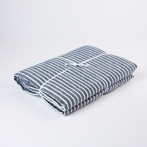 Linen Duvet Cover Super King Size Blue Stripe