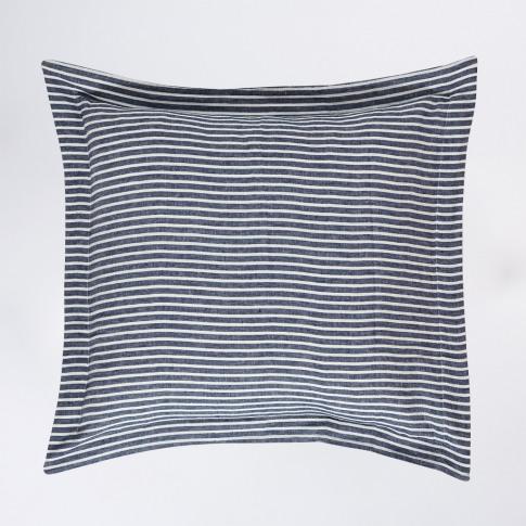 Linen Oxford Pillowcase Blue Stripe