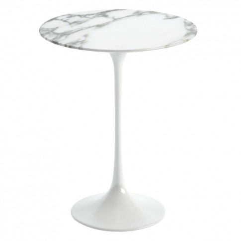 Tulip Side Table Coated Gloss Arabescato Marble & Wh...