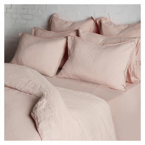 Linen Duvet Cover Double Soft Pink