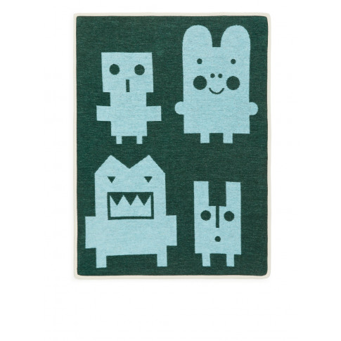 Klippan Monsters Cotton Blanket - Green