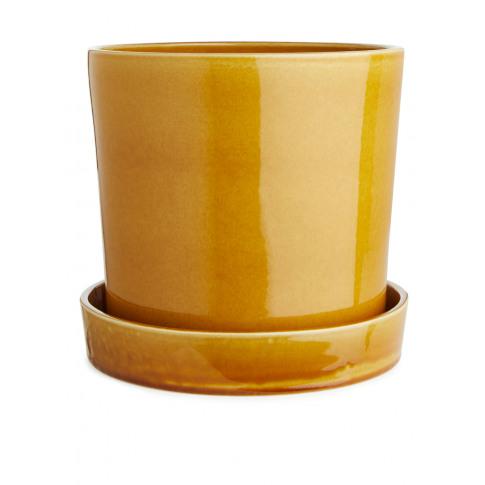 Terracotta Flower Pot 22 Cm - Yellow