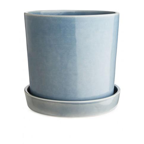 Terracotta Flower Pot 22 Cm - Blue