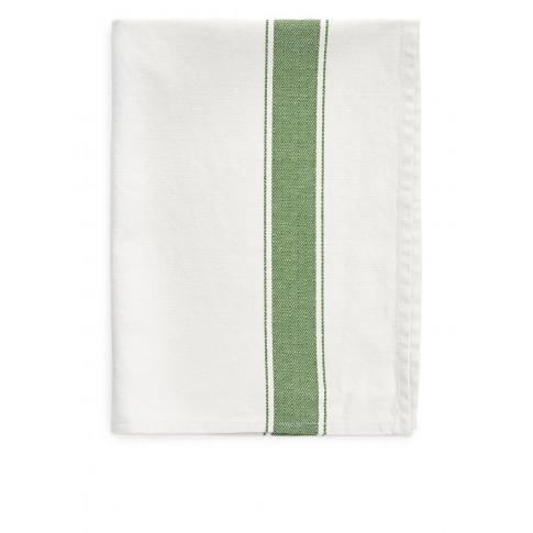 Goose-Eye Stripe Tea Towel - Green