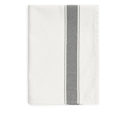 Goose-Eye Stripe Tea Towel - Grey