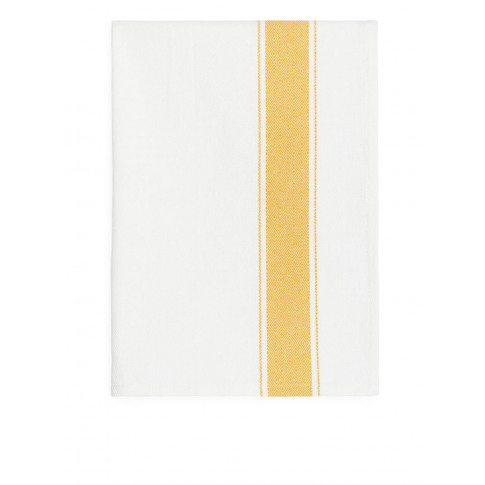 Goose-Eye Stripe Tea Towel - Yellow