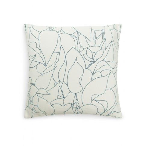Printed Linen Cushion Cover - Blue