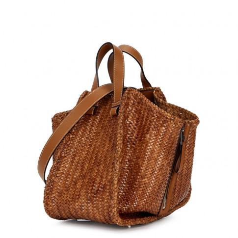 Loewe Hammock Brown Woven Leather Bucket Bag
