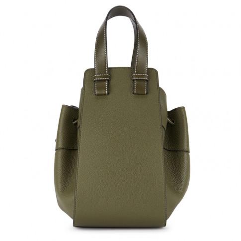 Loewe Hammock Small Olive Leather Bucket Bag