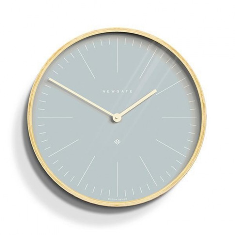 Newgate Modern Scandi Light Blue & Plywood Wall Clock