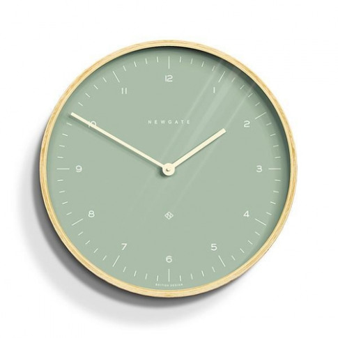 Newgate Modern Scandi Light Green & Plywood Wall Clock