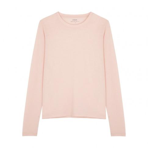 Vince Light Pink Slubbed Pima Cotton Top