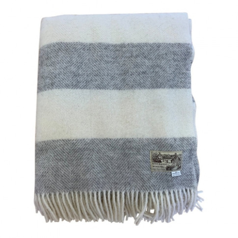 Knockando Dobcross Pure New Wool Blanket Cream & Gre...