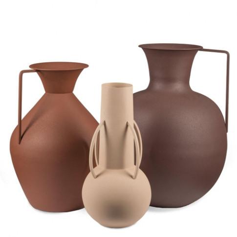 Pols Potten Set Of 3 Roman Vases Brown