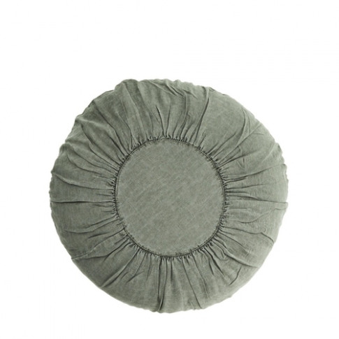 Madam Stoltz Round Linen Cushion Jade Green