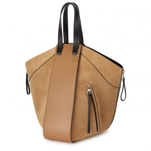 Loewe Hammock Camel Leather And Suede Tote