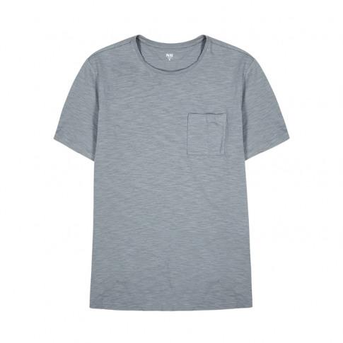 Paige Kenneth Grey Slubbed Cotton T-Shirt