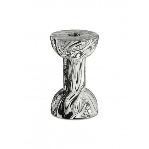 Swirl Dumbbell Candleholder - Black/White