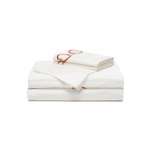 Link Embroidery King Size Duvet Set - Camel/Lacquer Red