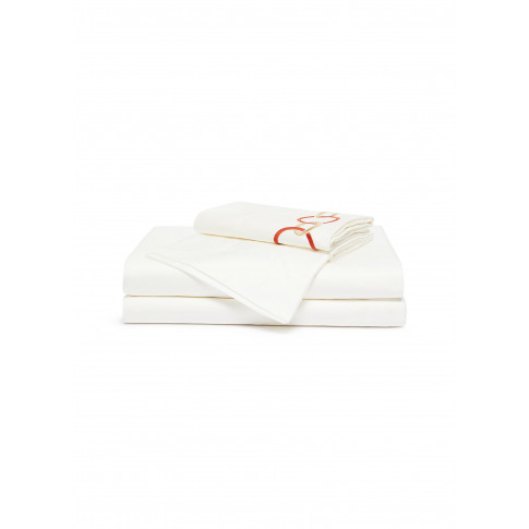 Link Embroidery Queen Size Duvet Set - Camel/Lacquer Red