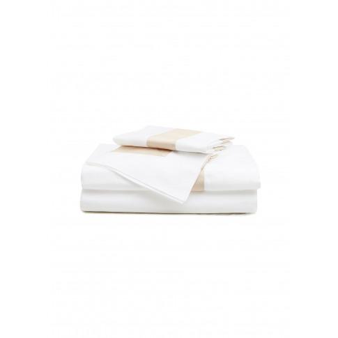 Bicolore Queen Size Duvet Set - White/Savage Beige