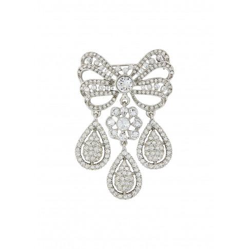 Glass Crystal Chandelier Drop Bow Brooch