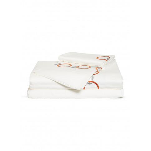 Link Embroidery Queen Size Duvet Set - Slate Grey/Orange
