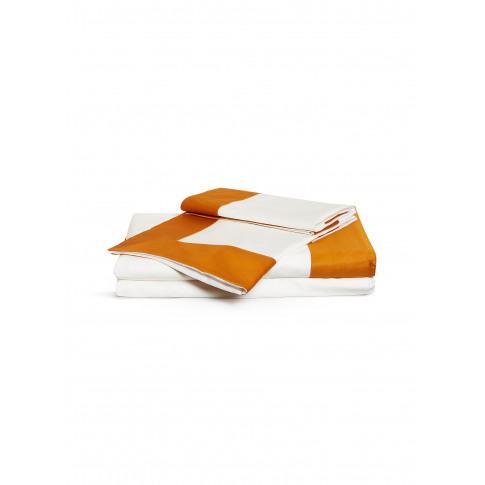 Bold Queen Size Duvet Set - Orange/Milk