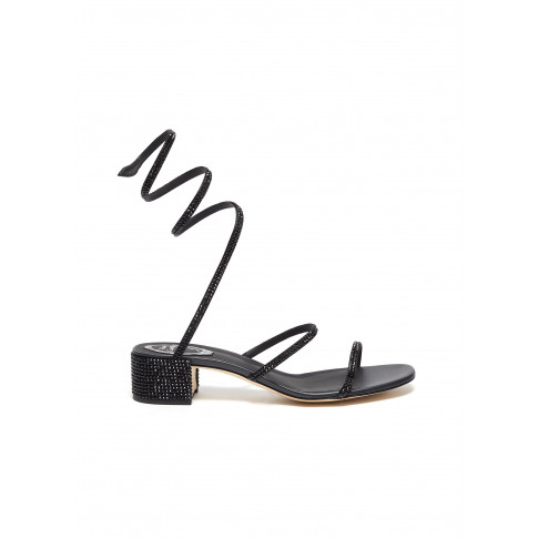 'Cleo' Chandelier Strass Coil Anklet Satin Sandals